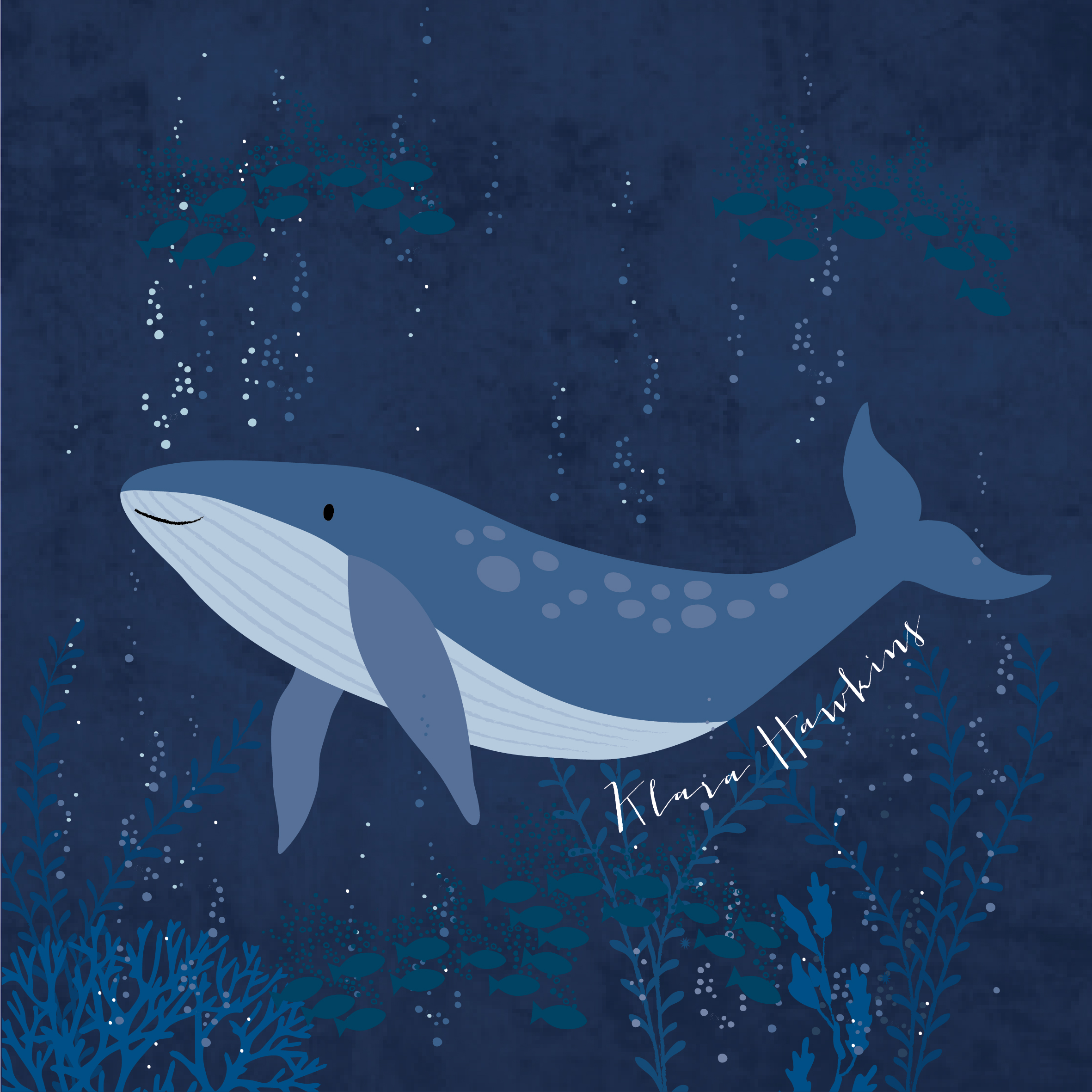 A light blue whale on a dark blue background with sea life such as coral and fish above and below. There are white bubbles coming off the whale and she has a little smile. The artist's signature is written in white under the whale.