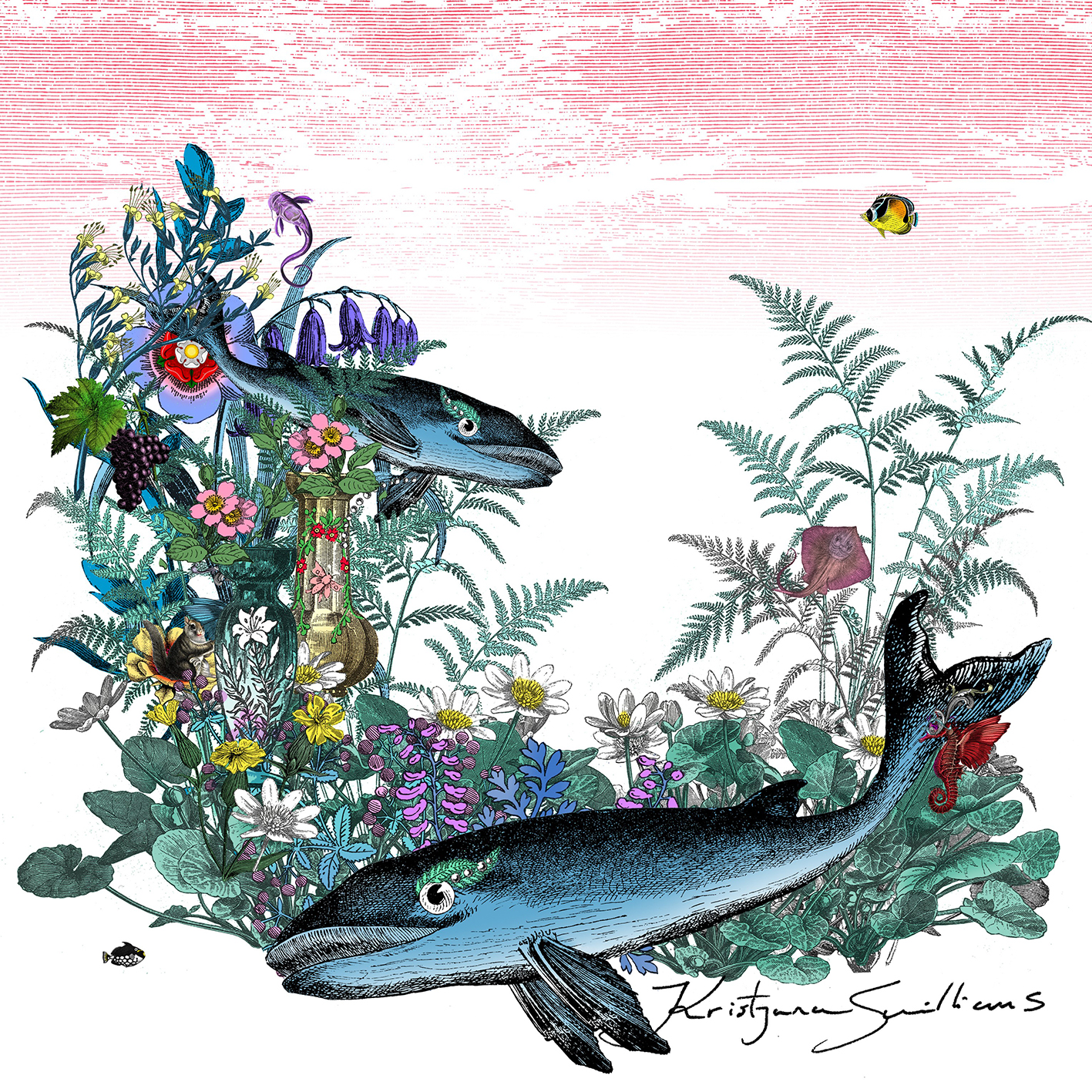 Intricate line drawing of two whales surrounded by the most detailed leaves, flowers, fruits and ferns, with other exotic fish swimming around