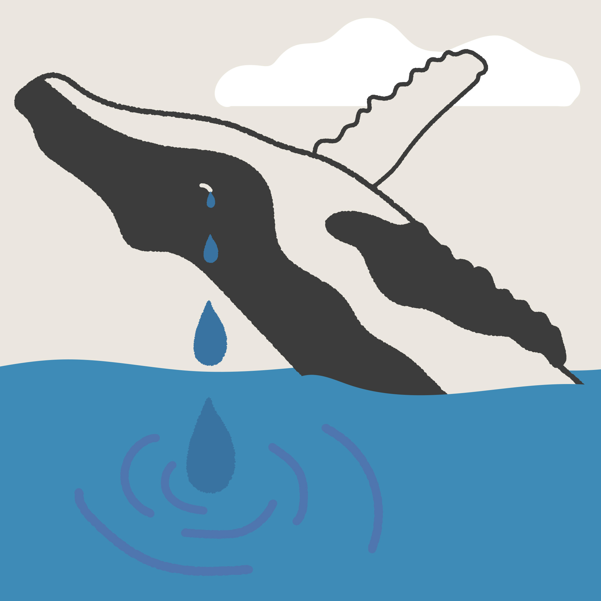 A line cartoon of a black and white whale breaching out of the blue water which fills nearly half the square. There is a single cloud in hte sky and the whale, who is on its back, is crying increasingly large tears down into the water.
