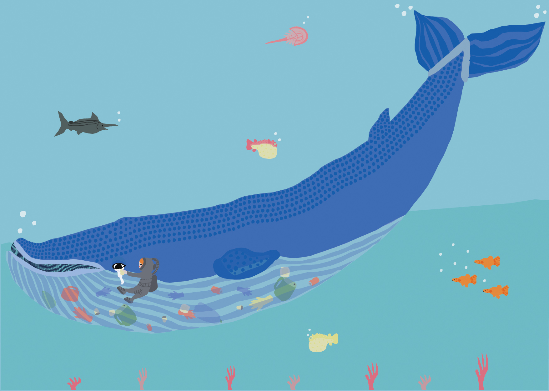 Large blue whale graphhic with other sea creatures around, and a diver wiping tears from the whale's big eye