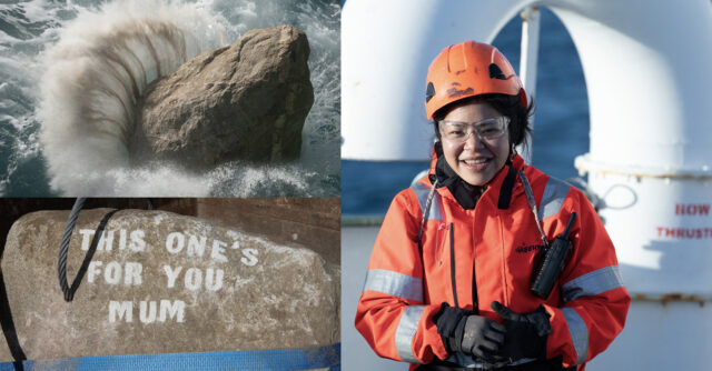 Photomontage shows a smiling Greenpeace crew member, a boulder stencilled with 'This one's for you mum' and a boulder splashing into the sea