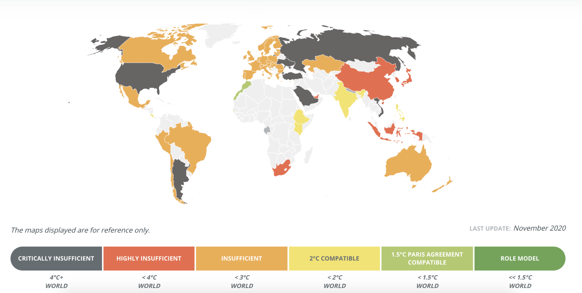 A world map, with countries colour-coded based on the strength of their Paris Climate Agreement pledges. Most are rated insufficient or critically insufficient.