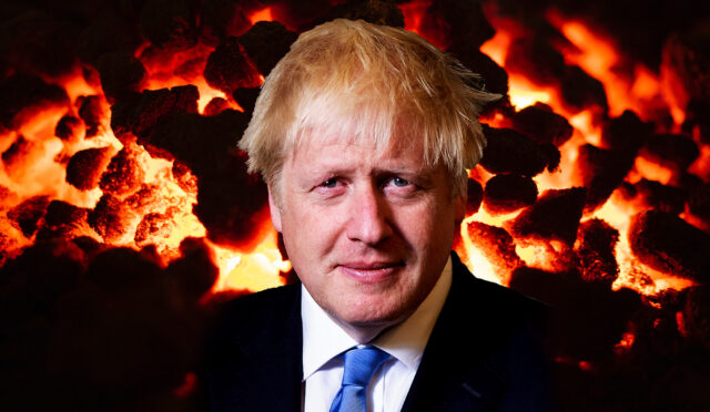 Photomontage of Boris Johnson's face against a backdrop of glowing coal
