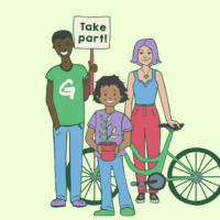 Three people holding a bike, a plant, and a placard reading 'Take part!'