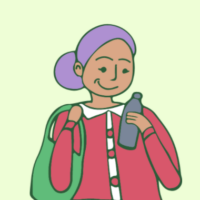 Illustration of a child holding a water bottle