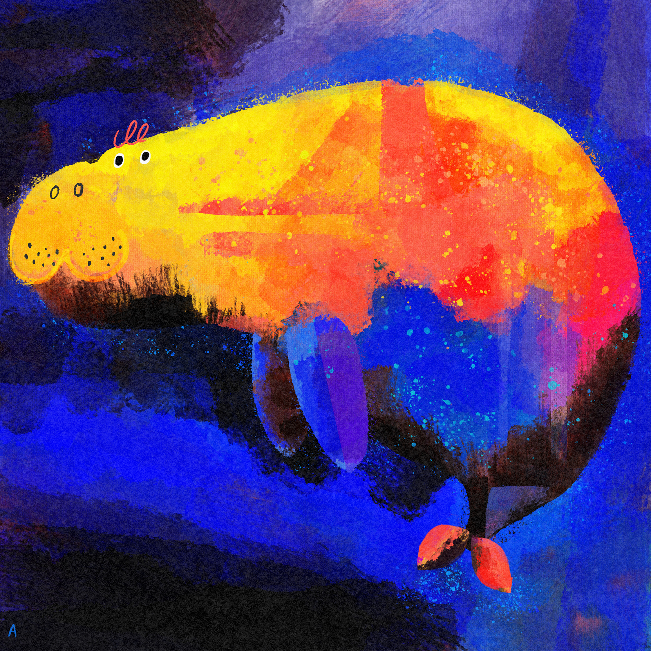 Very colourful painted dugong on a blue background. The red, orange and yellow paint is in broad strokes, with the dugong's cat or dog shaped muzzle drawn in detail with pen, including eyes, nostrils and little whisker-dots.