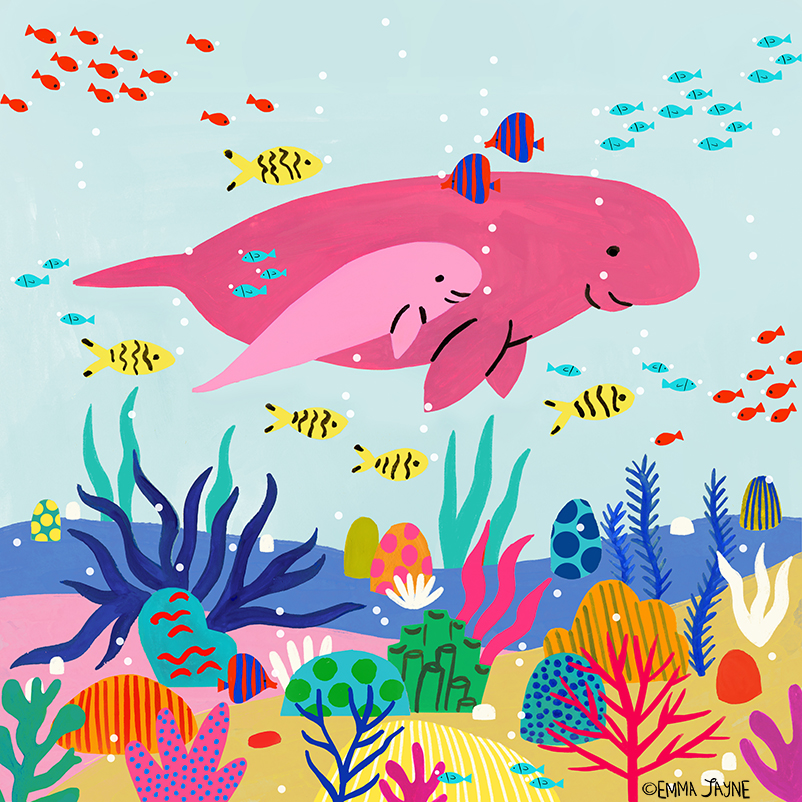 Two dugongs, adult and baby, in bright and pastel pink respectively, on a pale blue background with many colourful sea creatures on the ocean floor below them, and tropical fish in yellow and black stripe and blue and red stripe around them.