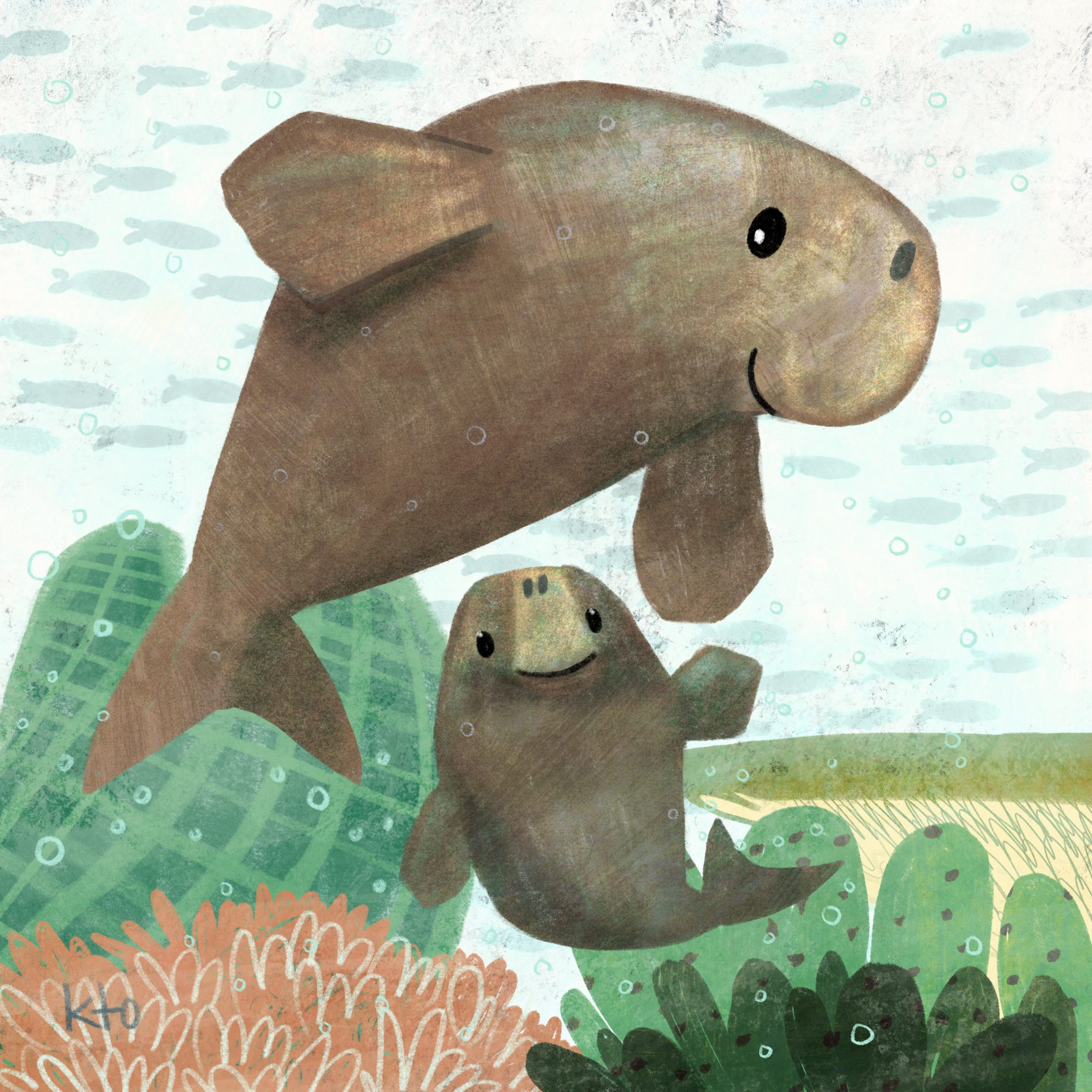Two brown dugongs little and big clearly both smiling (the little one face on), with a background of seagrass and coral in green and orange on a pale blue fish patterned background.