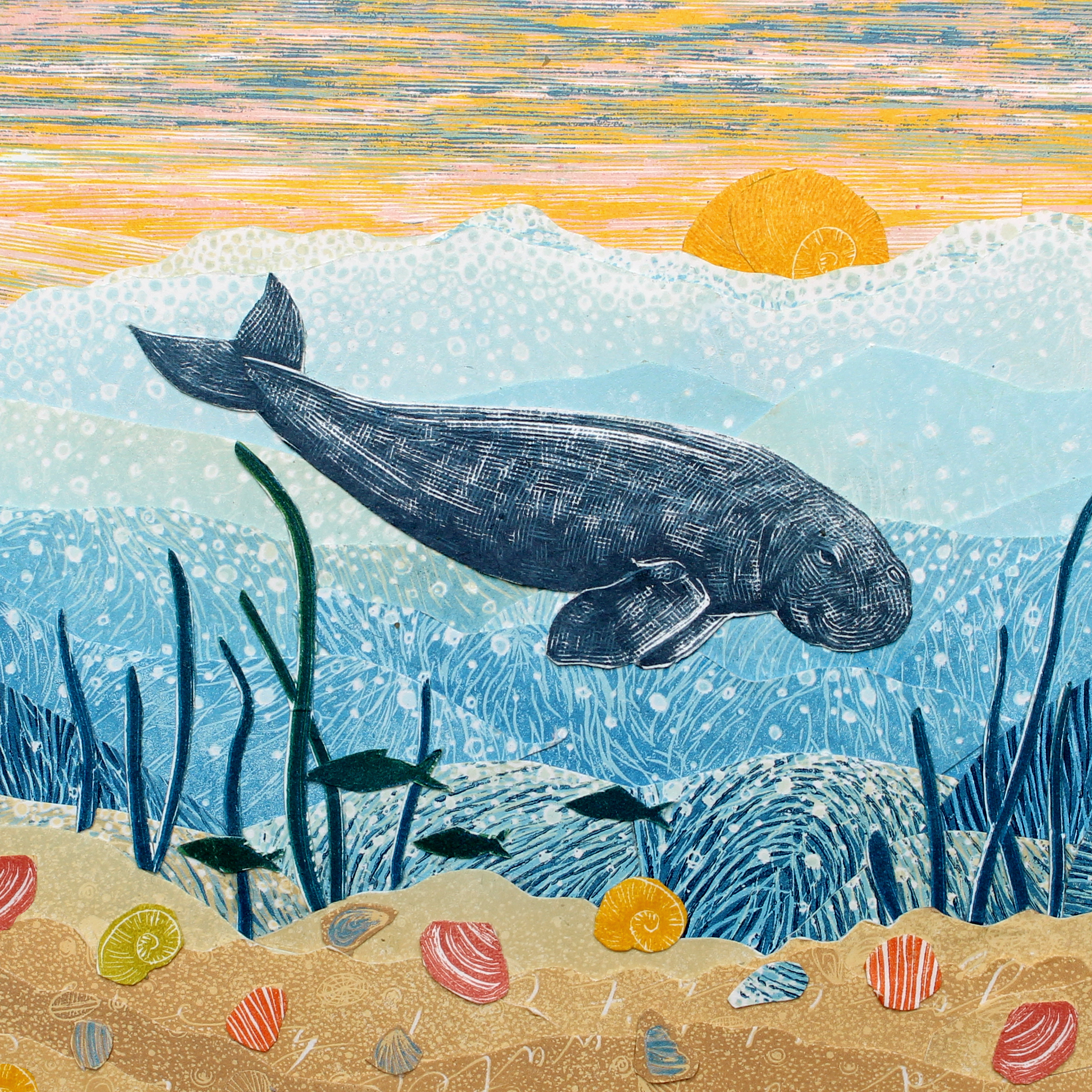 Textured drawing with many colours, including the sky in blue and yellow at the top with a big yellow sun, the waves of the sea in increasingly dark blue, then the sand with colourful shells patterned on it. The dark blue dugong floats over dark blue kelp fronds and the shadows of a few fish.