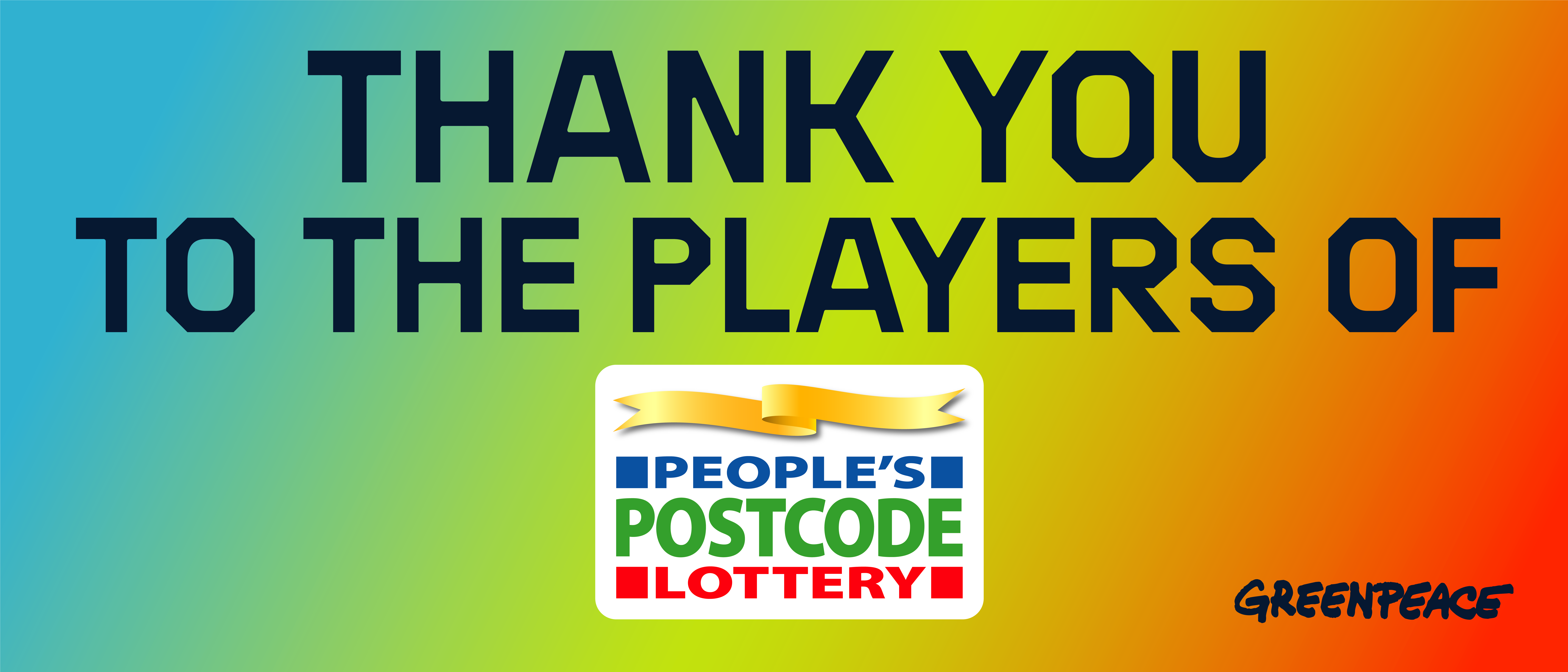 Banner reads: 'Thank you to the players of the People's Postcode Lottery'