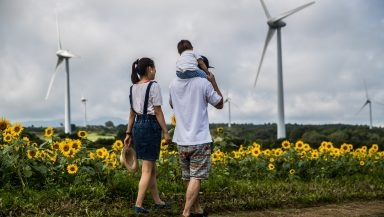 Two adults, one with a child on their shoulders, walk through a field of sunflowers with wind turbines in the background