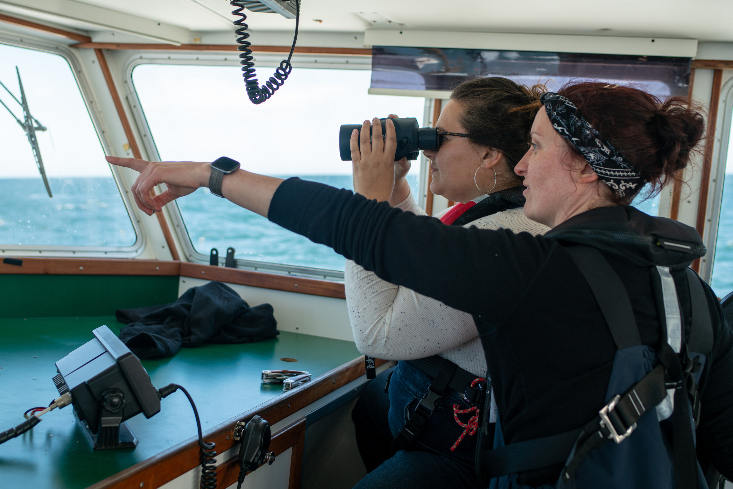 Two crew members watching the ocean from the bridge of a ship. One looks through binoculars while the other points to the horizon.