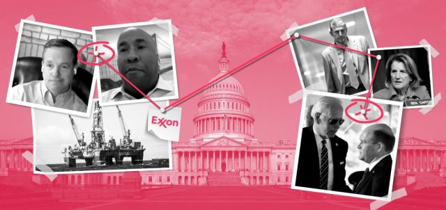 Photo montage shows black and white images of Exxon lobbyists and US politicians, connected with red lines, over a red-tinted image of the White House