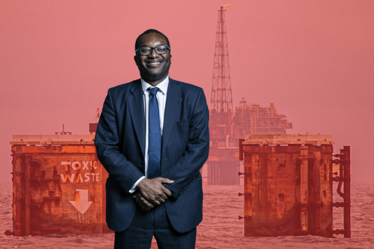 Photo montage shows Kwasi Kwarteng wearing a suit and smiling at the camera with hands clasped in front of him against a red-tinted image of an offshore oil platform.