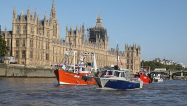 A group of small fishing boats sail alongside the UK's Houses of Parliament on the River Thames