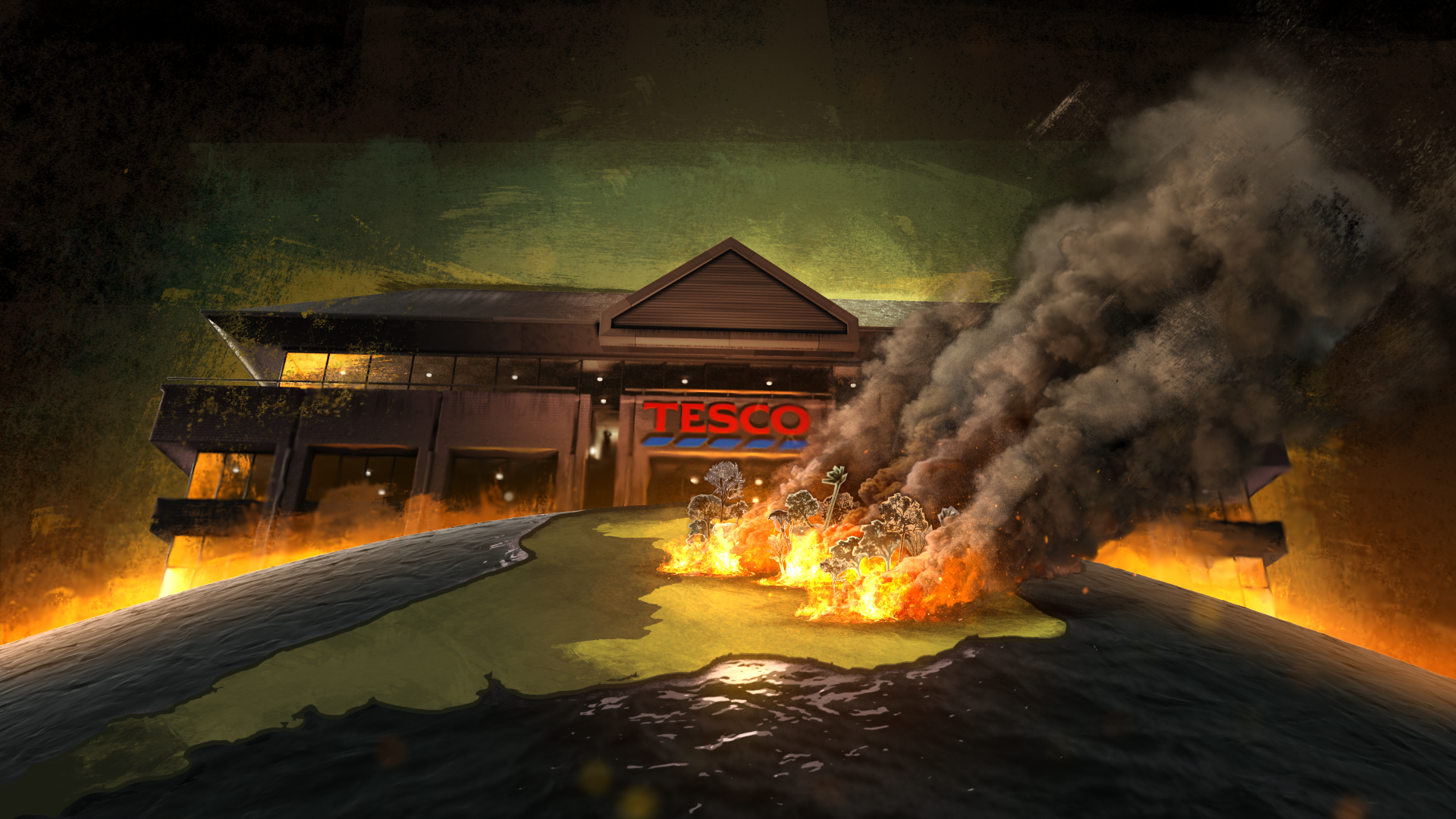 Still from Tesco's burning secret film. On an animated globe, Brazil is seen on fire in the foreground, a very large Tesco building looms in the dark background.