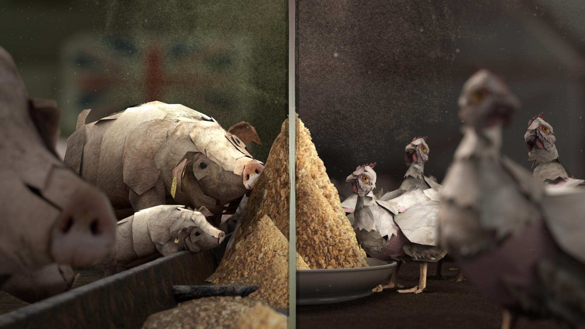 Still from Tesco's burning secret film, a split screen of pigs and chicken made out of paper cuttings, eating from piles of soya meal in the middle, with a British flag in the background of the pigs