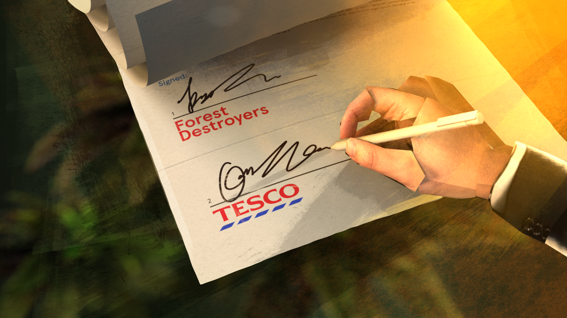 A still from the Tesco's burning secret film, an animated hand signing a contract on behalf of Tesco with the other party labelled Forest Destroyers