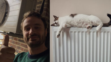 Photo montage shows a heat pump owner smiling and giving the thumbs-up in front of his heat pump, and a white cat sleeping on top of a domestic radiator